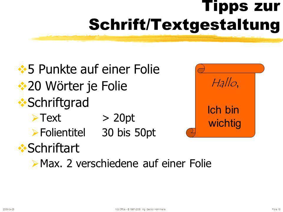 2005-04-25MS Office - © 1997-2005 Ing. Gerold Hämmerle Folie 14 Gliederungsansicht ANSICHT / GLIEDERUNG oder mit Symbol Gesamter Text aus Titel und Au