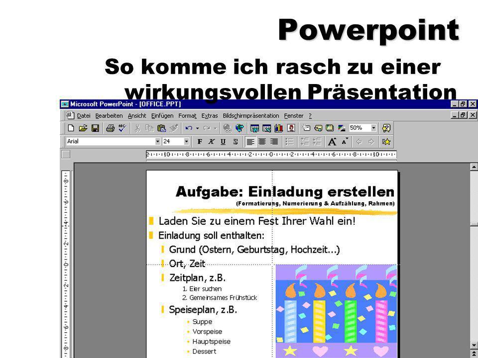 Powerpoint So komme ich rasch zu einer wirkungsvollen Präsentation