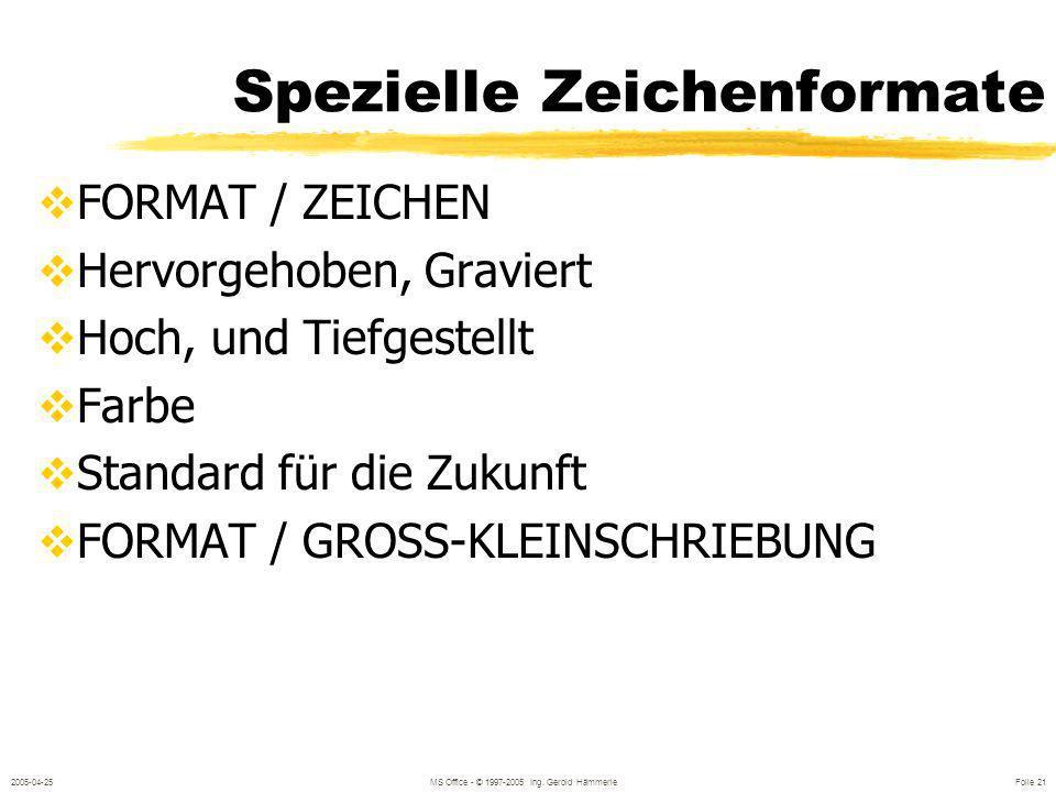 2005-04-25MS Office - © 1997-2005 Ing. Gerold Hämmerle Folie 20 Formate in der Formatsymbolleiste Schriftart und Schriftgröße Fett, Kursiv, Unterstric