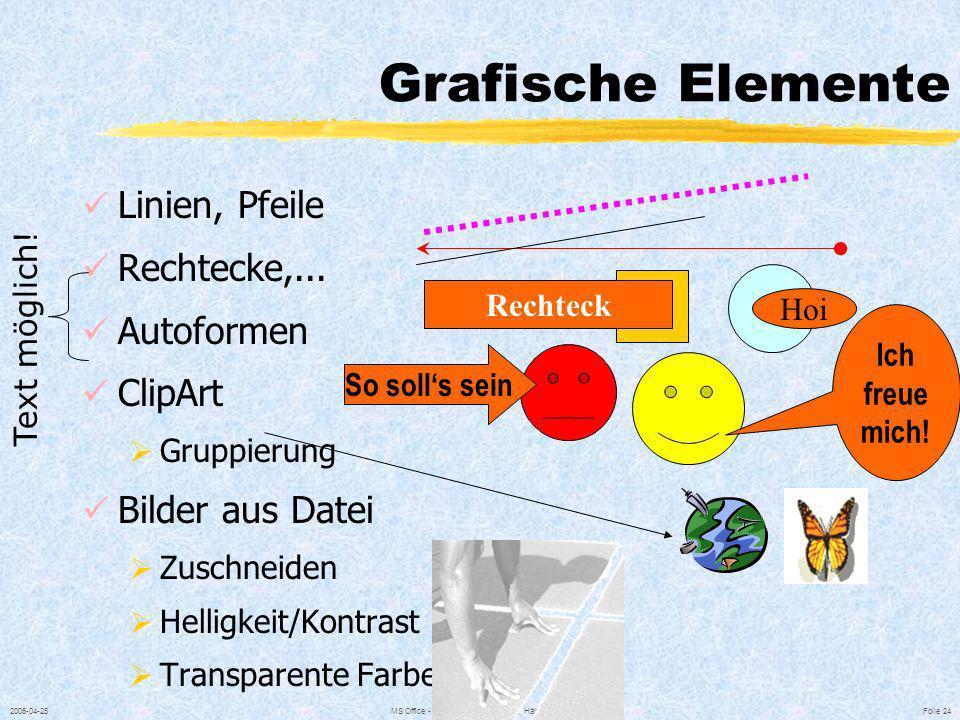 2005-04-25MS Office - © 1997-2005 Ing. Gerold Hämmerle Folie 23 Spezielle Absatzformate FORMAT / AUSRICHTUNG Zeilenabstand Abstand vor einem Absatz Ab