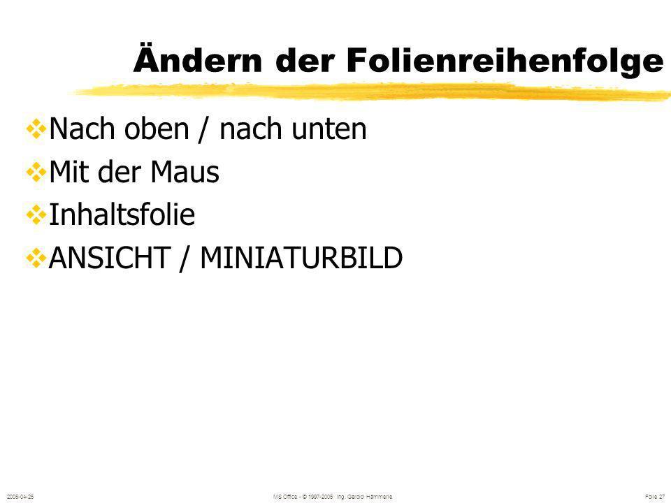 2005-04-25MS Office - © 1997-2005 Ing. Gerold Hämmerle Folie 26 NameFirmaTelefonE-Mail Petra KleinKlein OHG01-9875klein@klein.at Markus GroßABC GmbH01