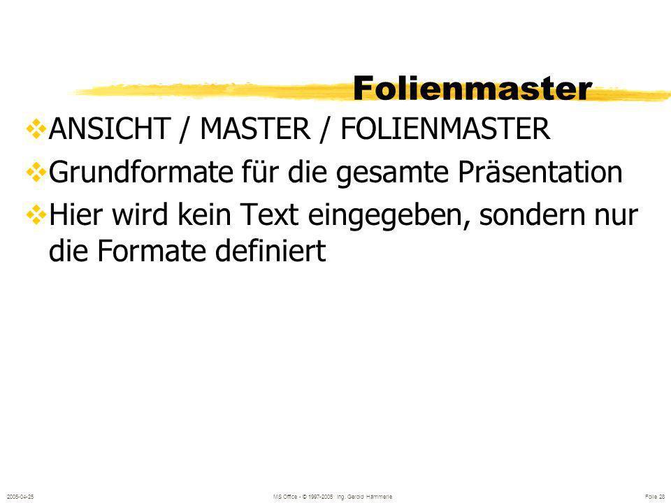 2005-04-25MS Office - © 1997-2005 Ing. Gerold Hämmerle Folie 27 Ändern der Folienreihenfolge Nach oben / nach unten Mit der Maus Inhaltsfolie ANSICHT