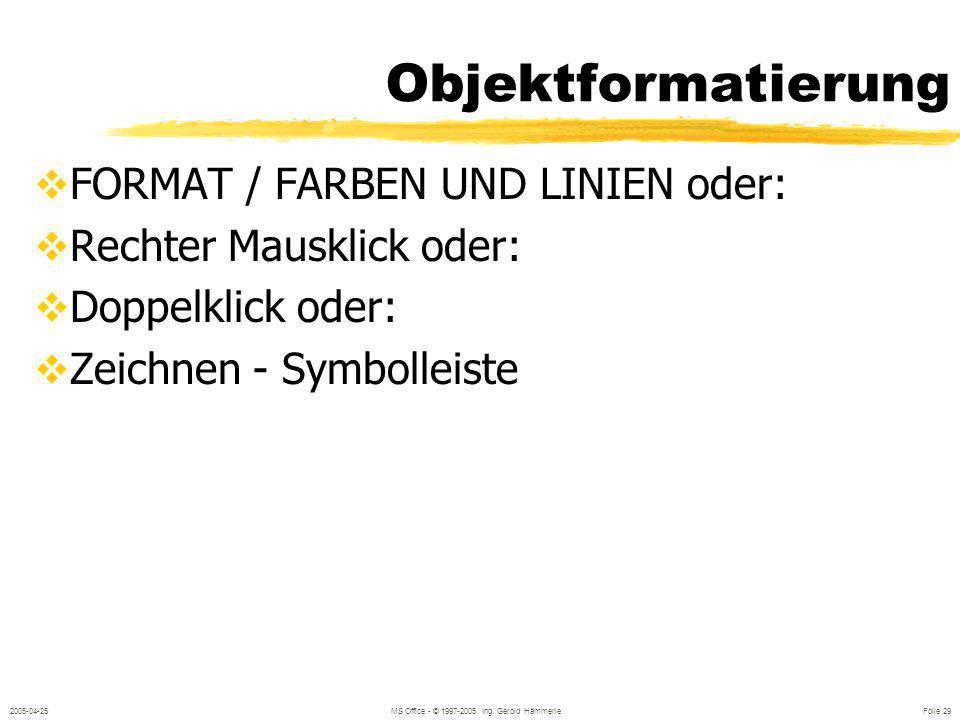 2005-04-25MS Office - © 1997-2005 Ing. Gerold Hämmerle Folie 28 Folienmaster ANSICHT / MASTER / FOLIENMASTER Grundformate für die gesamte Präsentation