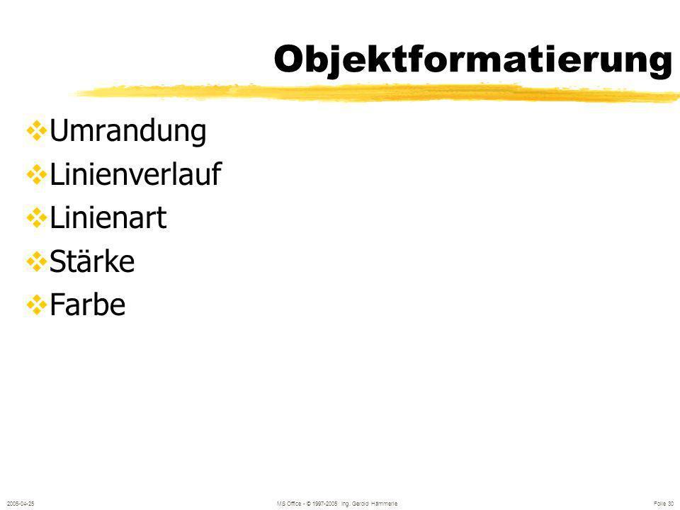 2005-04-25MS Office - © 1997-2005 Ing. Gerold Hämmerle Folie 29 Objektformatierung FORMAT / FARBEN UND LINIEN oder: Rechter Mausklick oder: Doppelklic