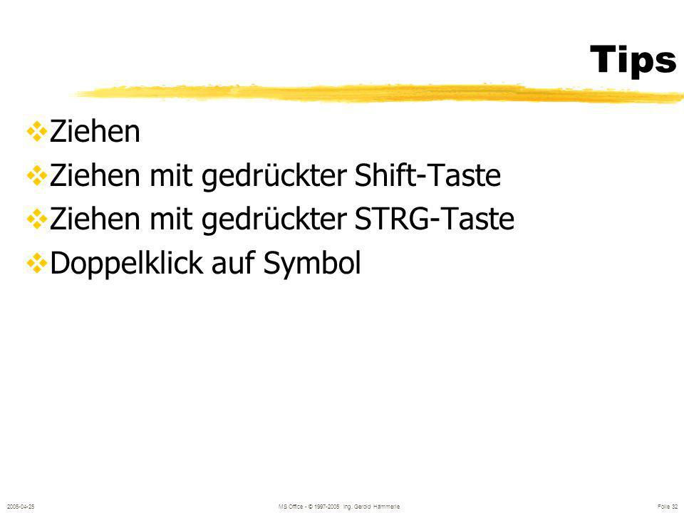 2005-04-25MS Office - © 1997-2005 Ing. Gerold Hämmerle Folie 31 Zeichenwerkzeuge Linie Pfeil Rechteck Ellipse