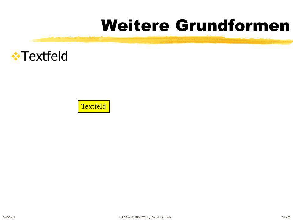 2005-04-25MS Office - © 1997-2005 Ing. Gerold Hämmerle Folie 32 Tips Ziehen Ziehen mit gedrückter Shift-Taste Ziehen mit gedrückter STRG-Taste Doppelk