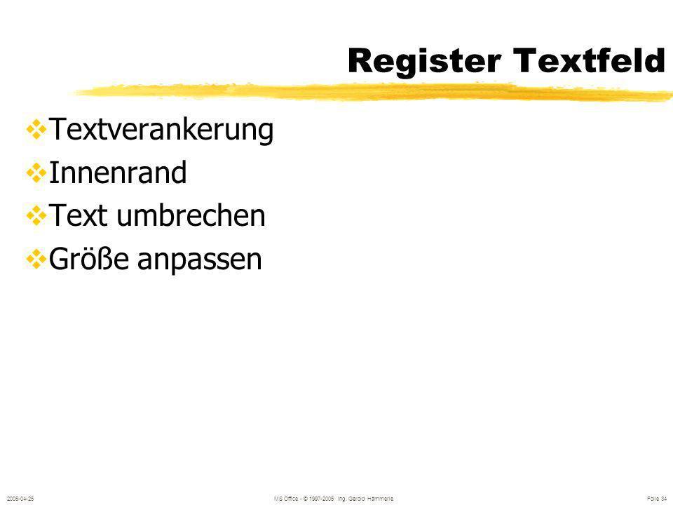 2005-04-25MS Office - © 1997-2005 Ing. Gerold Hämmerle Folie 33 Weitere Grundformen Textfeld