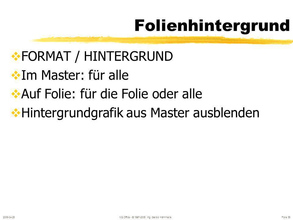 2005-04-25MS Office - © 1997-2005 Ing. Gerold Hämmerle Folie 34 Register Textfeld Textverankerung Innenrand Text umbrechen Größe anpassen