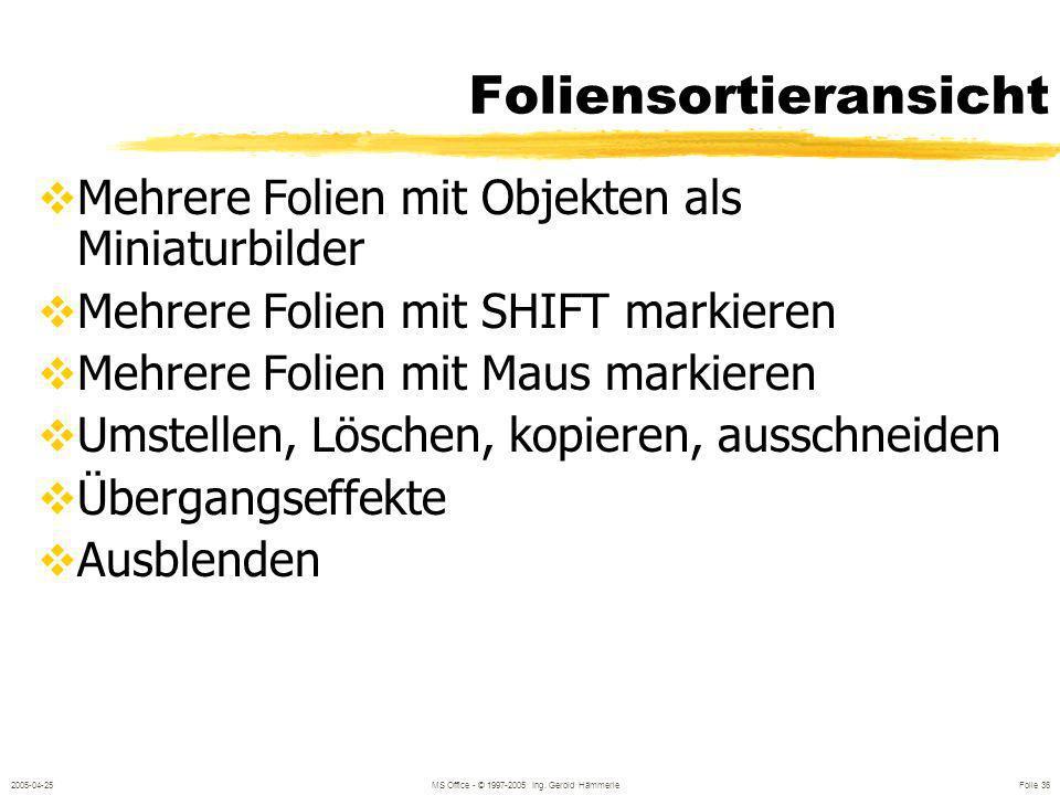 2005-04-25MS Office - © 1997-2005 Ing. Gerold Hämmerle Folie 35 Folienhintergrund FORMAT / HINTERGRUND Im Master: für alle Auf Folie: für die Folie od