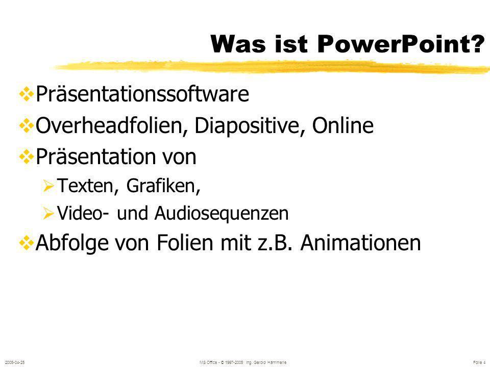 2005-04-25MS Office - © 1997-2005 Ing.Gerold Hämmerle Folie 4 Was ist PowerPoint.