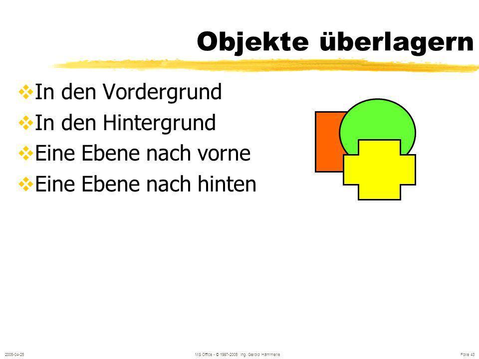 2005-04-25MS Office - © 1997-2005 Ing. Gerold Hämmerle Folie 42 Objekte zueinander ausrichten Ausrichten und Verteilen Linksbündig,Horizontal zentrier