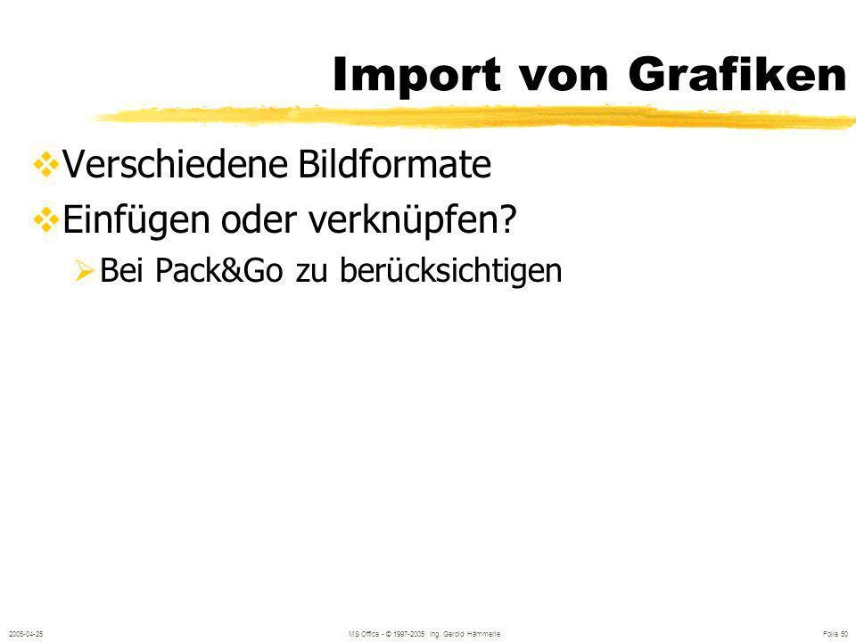 2005-04-25MS Office - © 1997-2005 Ing. Gerold Hämmerle Folie 49 Datenaustausch Import Bestehende Dokumente werden in PowerPoint übernommen Zwischenabl