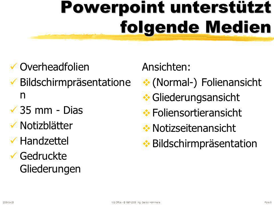 2005-04-25MS Office - © 1997-2005 Ing. Gerold Hämmerle Folie 5 Inhalte des Seminars Folien erstellen Folienlayout, Hintergrund Text eingeben und gesta