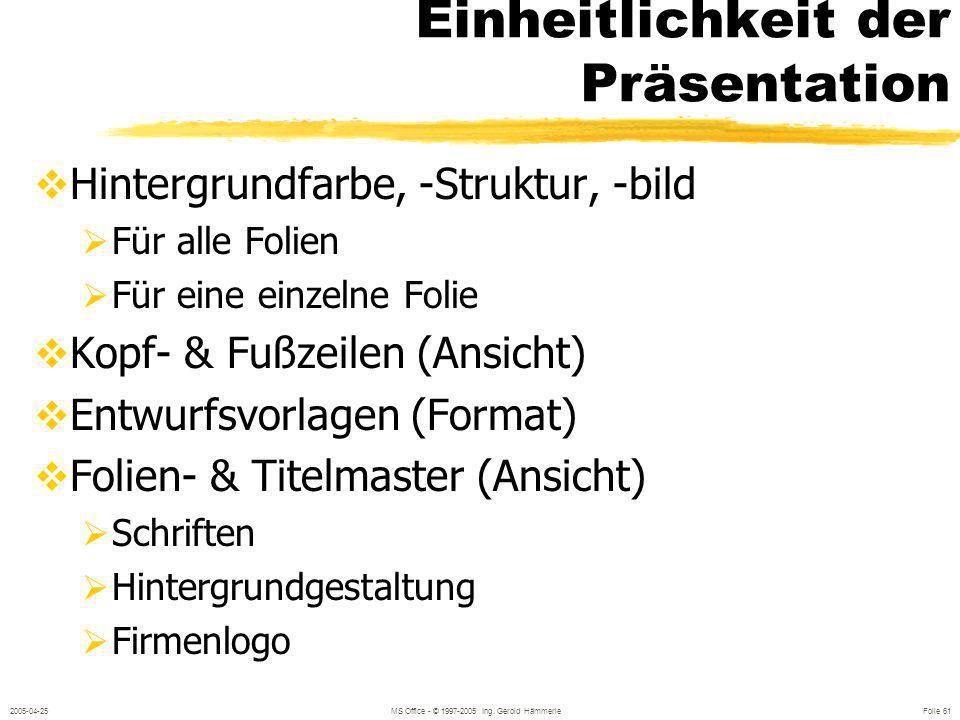 2005-04-25MS Office - © 1997-2005 Ing. Gerold Hämmerle Folie 60 Organisationsdiagramme Beschrieben der Elemente Hinzufügen von Elementen Markieren meh