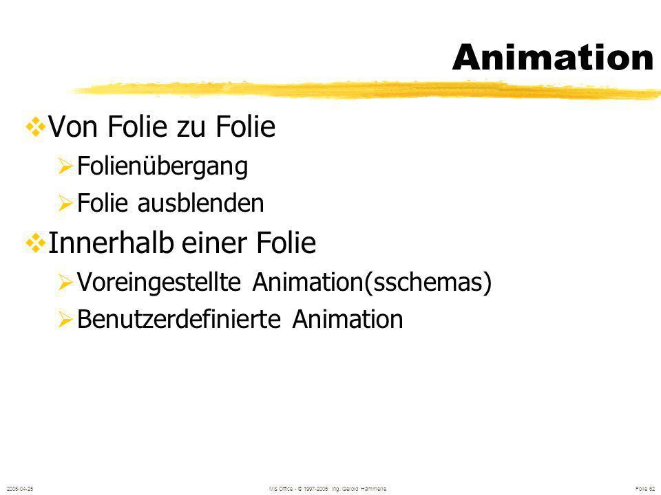 2005-04-25MS Office - © 1997-2005 Ing. Gerold Hämmerle Folie 61 Einheitlichkeit der Präsentation Hintergrundfarbe, -Struktur, -bild Für alle Folien Fü