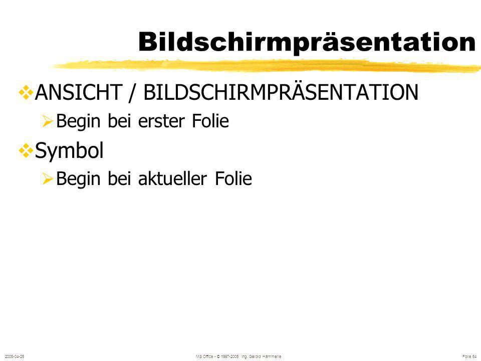 2005-04-25MS Office - © 1997-2005 Ing. Gerold Hämmerle Folie 63 Bewegen in der Präsentation Folienansicht: Bildlaufleiste Bildlaufleiste : vor / zurüc