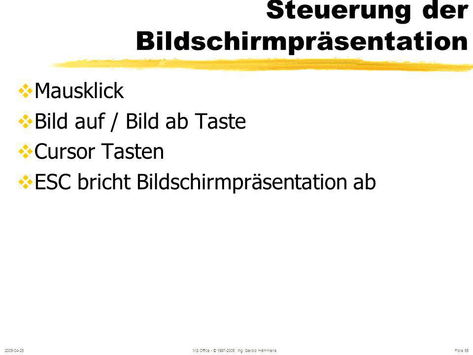 2005-04-25MS Office - © 1997-2005 Ing. Gerold Hämmerle Folie 64 Bildschirmpräsentation ANSICHT / BILDSCHIRMPRÄSENTATION Begin bei erster Folie Symbol