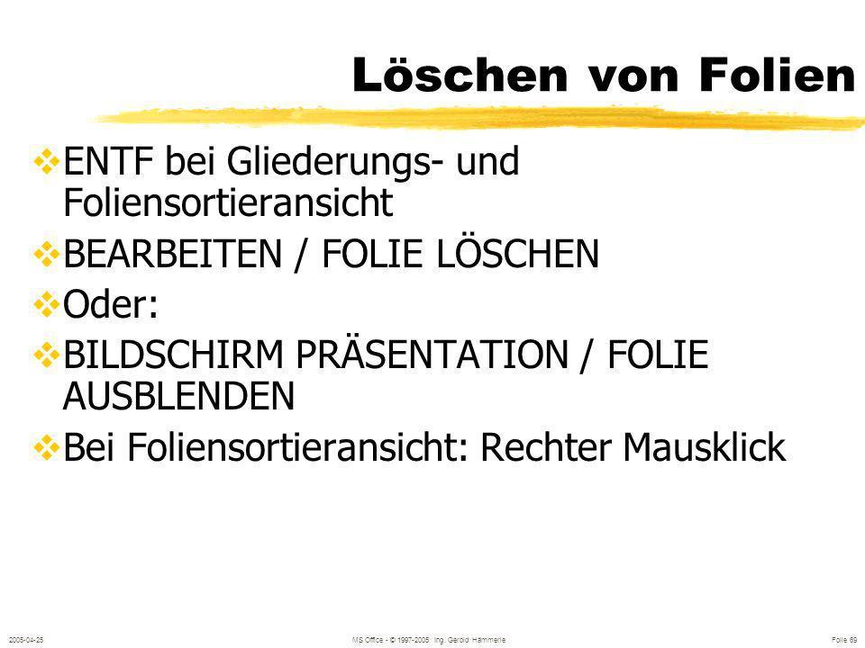 2005-04-25MS Office - © 1997-2005 Ing. Gerold Hämmerle Folie 68 Automatisches Vorführen BILDSCHIRMPRÄSENTATION / BILDSCHIRMPRÄSENTATIN EINRICHTEN Wied