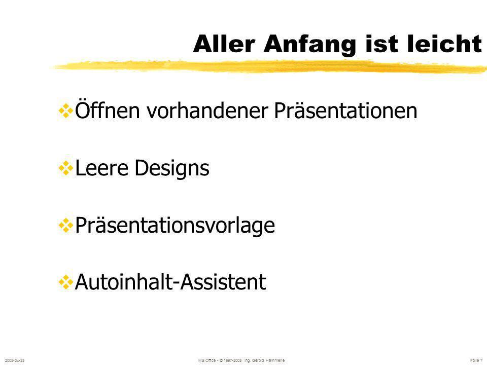 2005-04-25MS Office - © 1997-2005 Ing. Gerold Hämmerle Folie 6 Powerpoint unterstützt folgende Medien Overheadfolien Bildschirmpräsentatione n 35 mm -