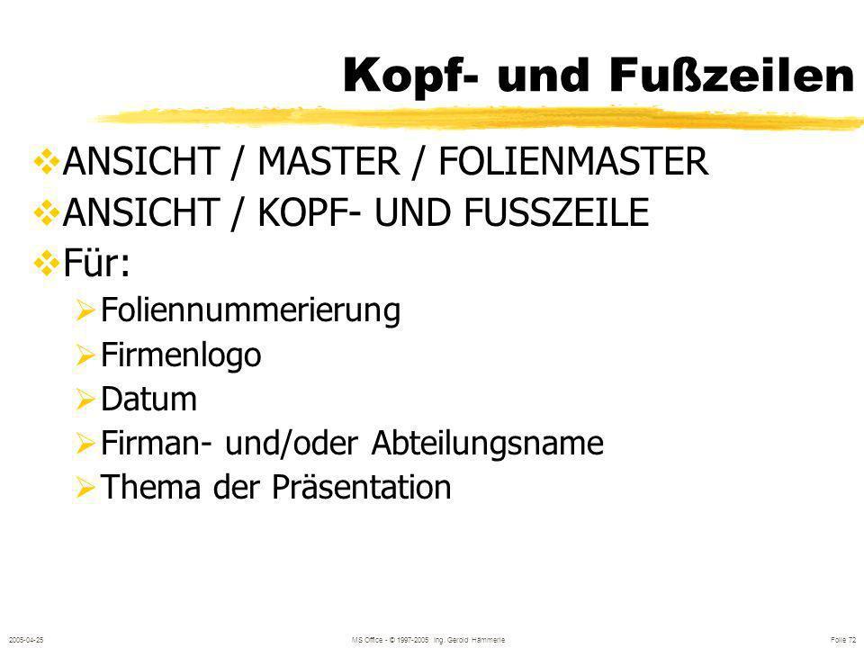 2005-04-25MS Office - © 1997-2005 Ing. Gerold Hämmerle Folie 71 Drucken DATEI / DRUCKEN Varianten: Folien selber, jede Folie eine Seite Handzettel ( M