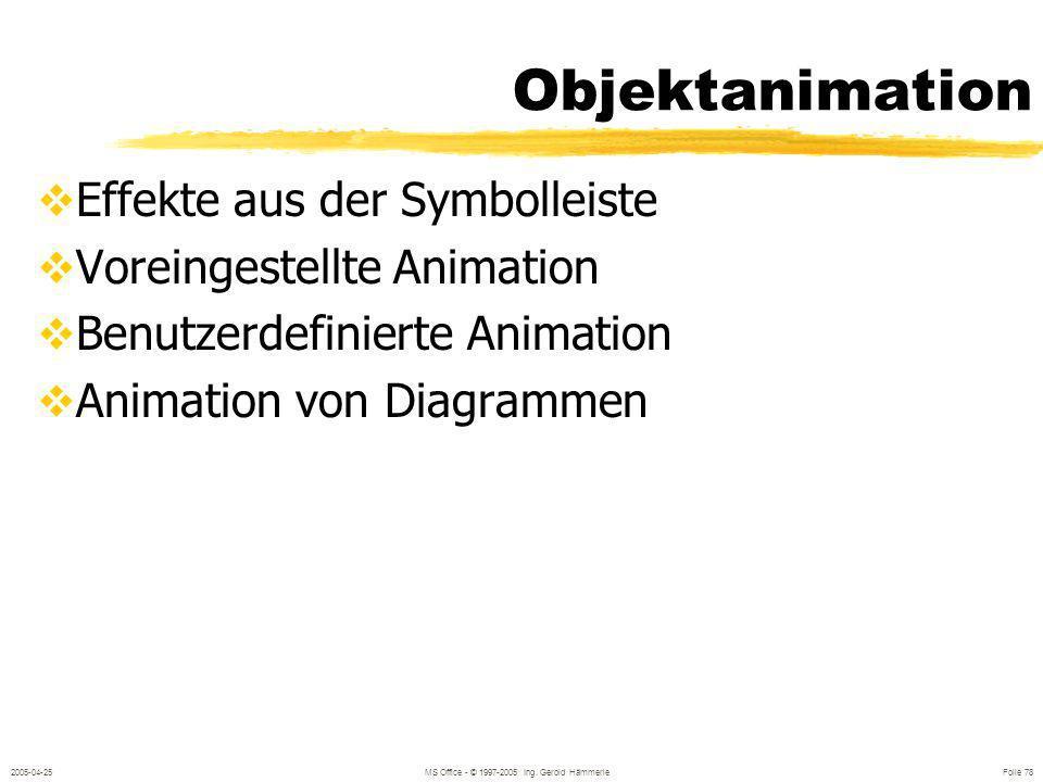 2005-04-25MS Office - © 1997-2005 Ing. Gerold Hämmerle Folie 77 Einfügen aus Gliederung Gliederung von z.B MS Word (Text als RTF – Datei abgespeichert