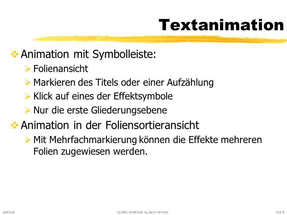 2005-04-25MS Office - © 1997-2005 Ing. Gerold Hämmerle Folie 78 Objektanimation Effekte aus der Symbolleiste Voreingestellte Animation Benutzerdefinie