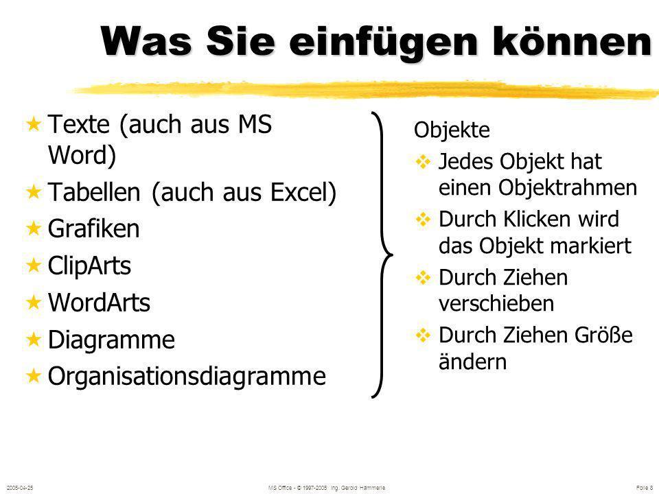 2005-04-25MS Office - © 1997-2005 Ing. Gerold Hämmerle Folie 58 Excel