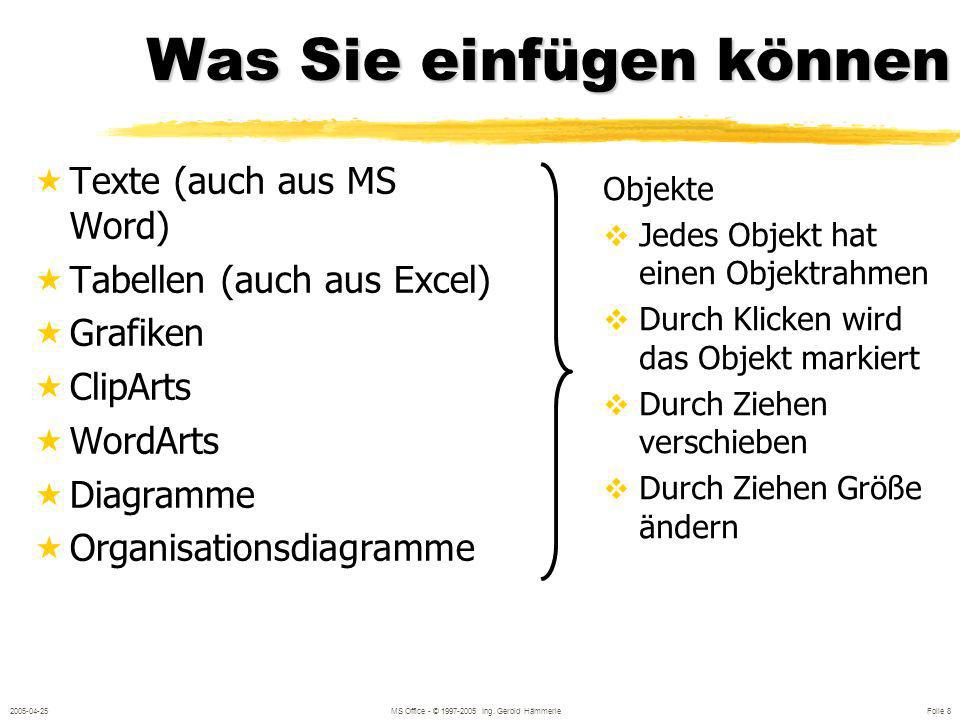 2005-04-25MS Office - © 1997-2005 Ing. Gerold Hämmerle Folie 7 Aller Anfang ist leicht Öffnen vorhandener Präsentationen Leere Designs Präsentationsvo