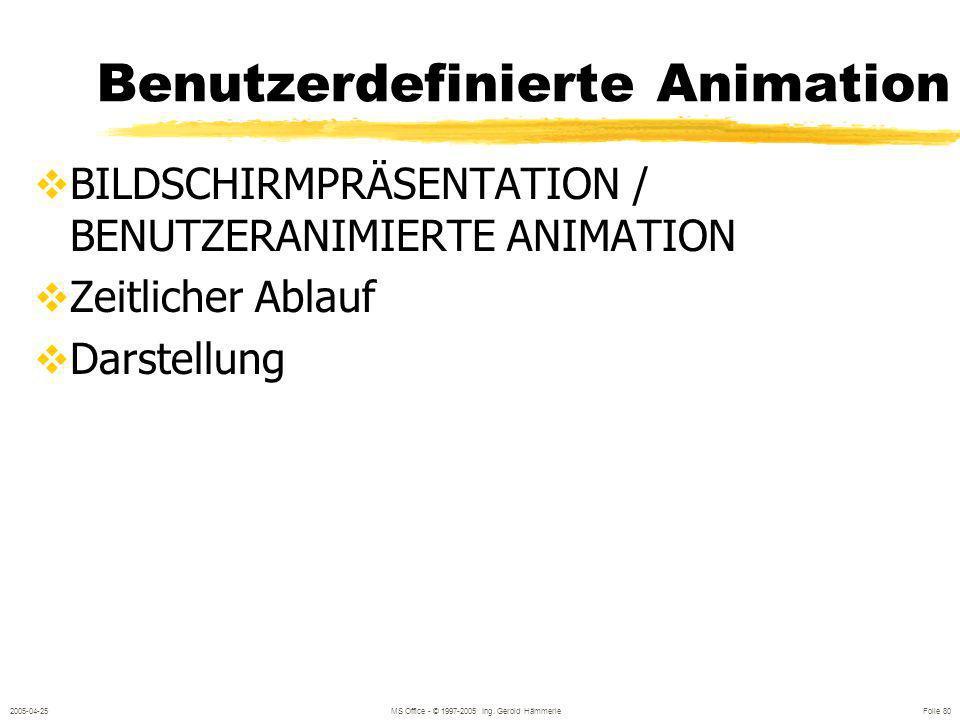 2005-04-25MS Office - © 1997-2005 Ing. Gerold Hämmerle Folie 79 Textanimation Animation mit Symbolleiste: Folienansicht Markieren des Titels oder eine