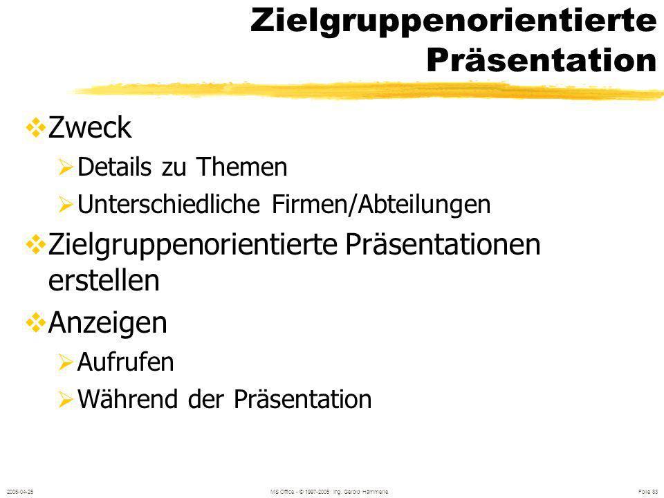 2005-04-25MS Office - © 1997-2005 Ing. Gerold Hämmerle Folie 82 Präsentation mit Übergängen Überblendeffekte zwischen den einzelnen Folien Am besten i