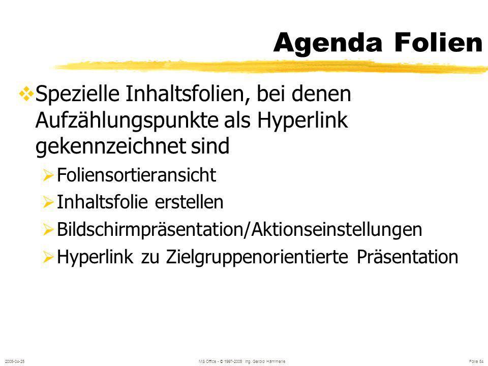 2005-04-25MS Office - © 1997-2005 Ing. Gerold Hämmerle Folie 83 Zielgruppenorientierte Präsentation Zweck Details zu Themen Unterschiedliche Firmen/Ab