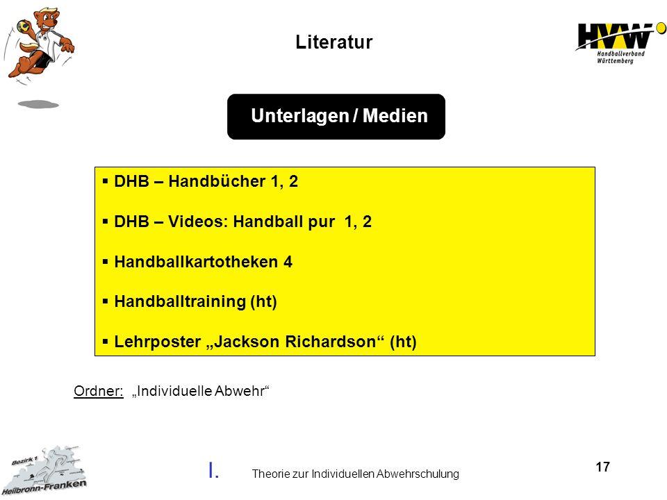 17 DHB – Handbücher 1, 2 DHB – Videos: Handball pur 1, 2 Handballkartotheken 4 Handballtraining (ht) Lehrposter Jackson Richardson (ht) Unterlagen / M
