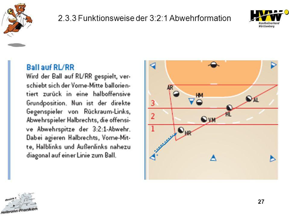 27 2.3.3 Funktionsweise der 3:2:1 Abwehrformation