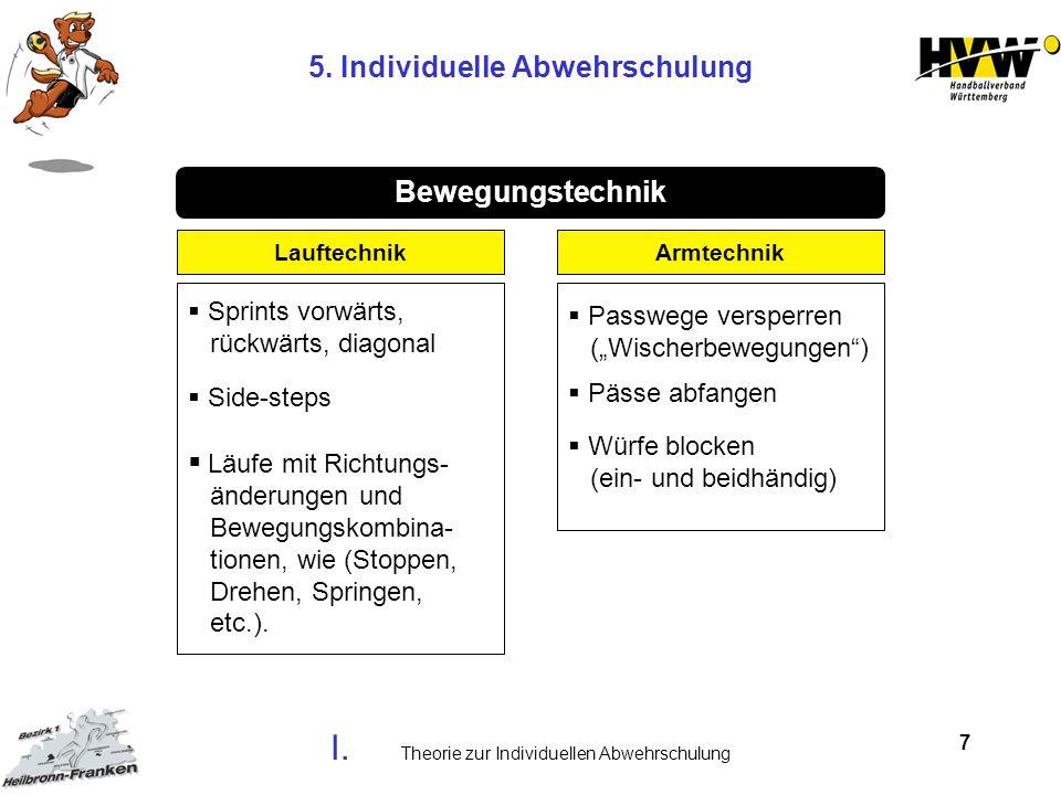 7 Läufe mit Richtungs- änderungen und Bewegungskombina- tionen, wie (Stoppen, Drehen, Springen, etc.). Passwege versperren (Wischerbewegungen) Lauftec