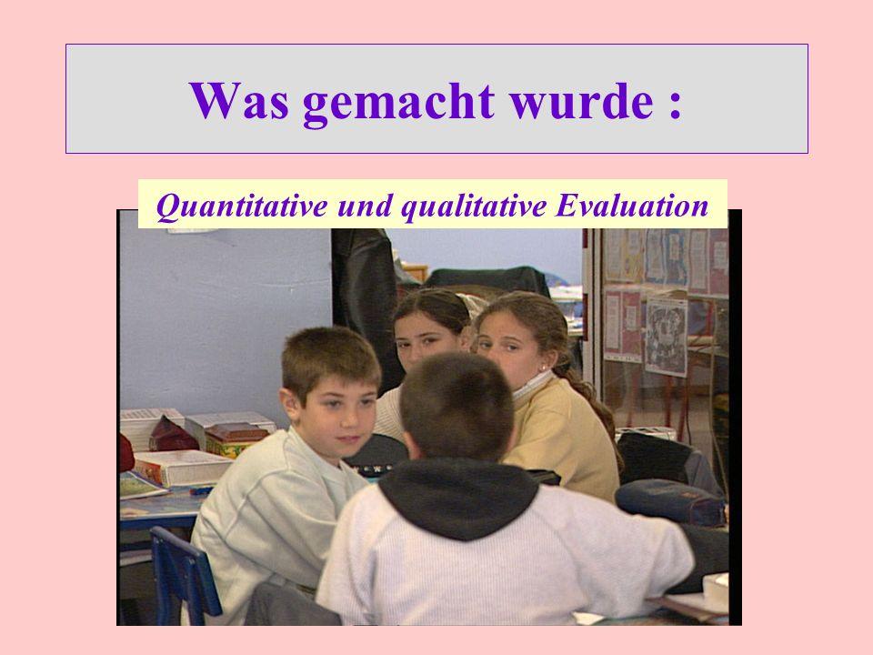 Was gemacht wurde : Quantitative und qualitative Evaluation