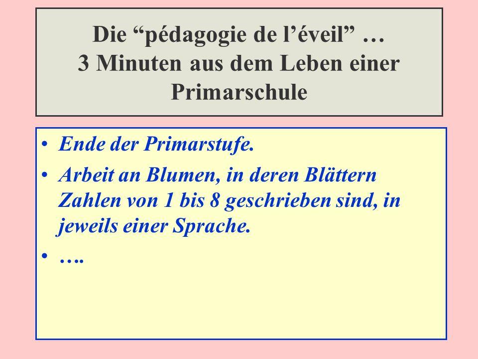 Die pédagogie de léveil … 3 Minuten aus dem Leben einer Primarschule Ende der Primarstufe.