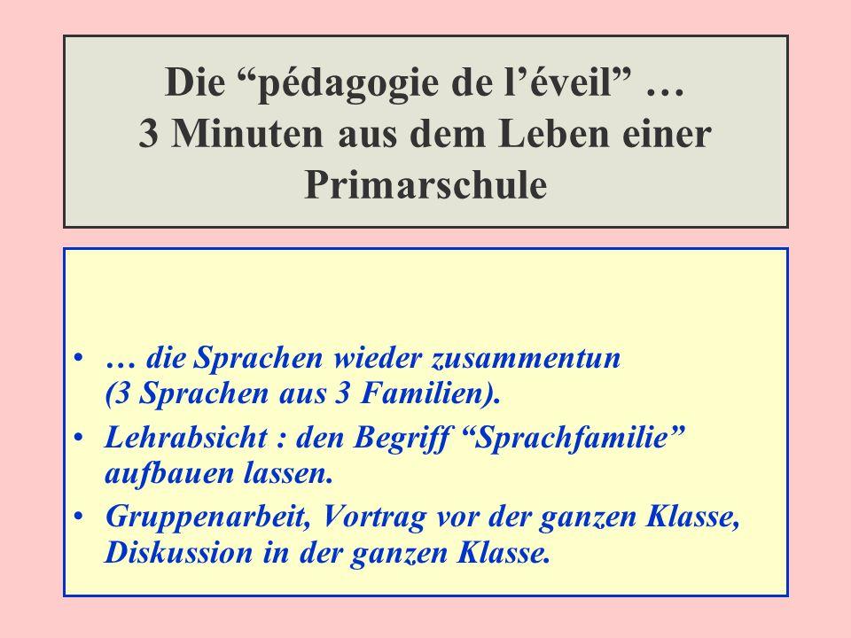 Die pédagogie de léveil … 3 Minuten aus dem Leben einer Primarschule … die Sprachen wieder zusammentun (3 Sprachen aus 3 Familien).