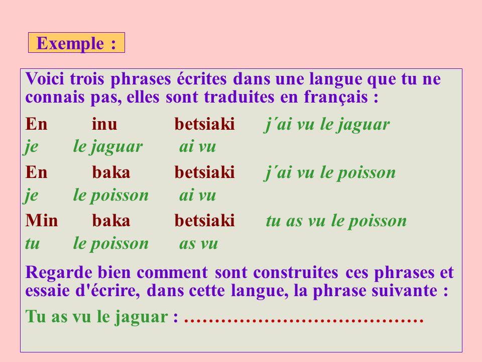 Exemple : Voici trois phrases écrites dans une langue que tu ne connais pas, elles sont traduites en français : En inu betsiakij´ai vu le jaguar je le jaguar ai vu En baka betsiakij´ai vu le poisson je le poisson ai vu Min baka betsiakitu as vu le poisson tu le poisson as vu Regarde bien comment sont construites ces phrases et essaie d écrire, dans cette langue, la phrase suivante : Tu as vu le jaguar : …………………………………
