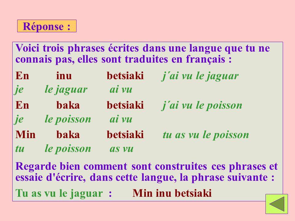 Réponse : Voici trois phrases écrites dans une langue que tu ne connais pas, elles sont traduites en français : En inu betsiakij´ai vu le jaguar je le jaguar ai vu En baka betsiakij´ai vu le poisson je le poisson ai vu Min baka betsiakitu as vu le poisson tu le poisson as vu Regarde bien comment sont construites ces phrases et essaie d écrire, dans cette langue, la phrase suivante : Tu as vu le jaguar : Min inu betsiaki