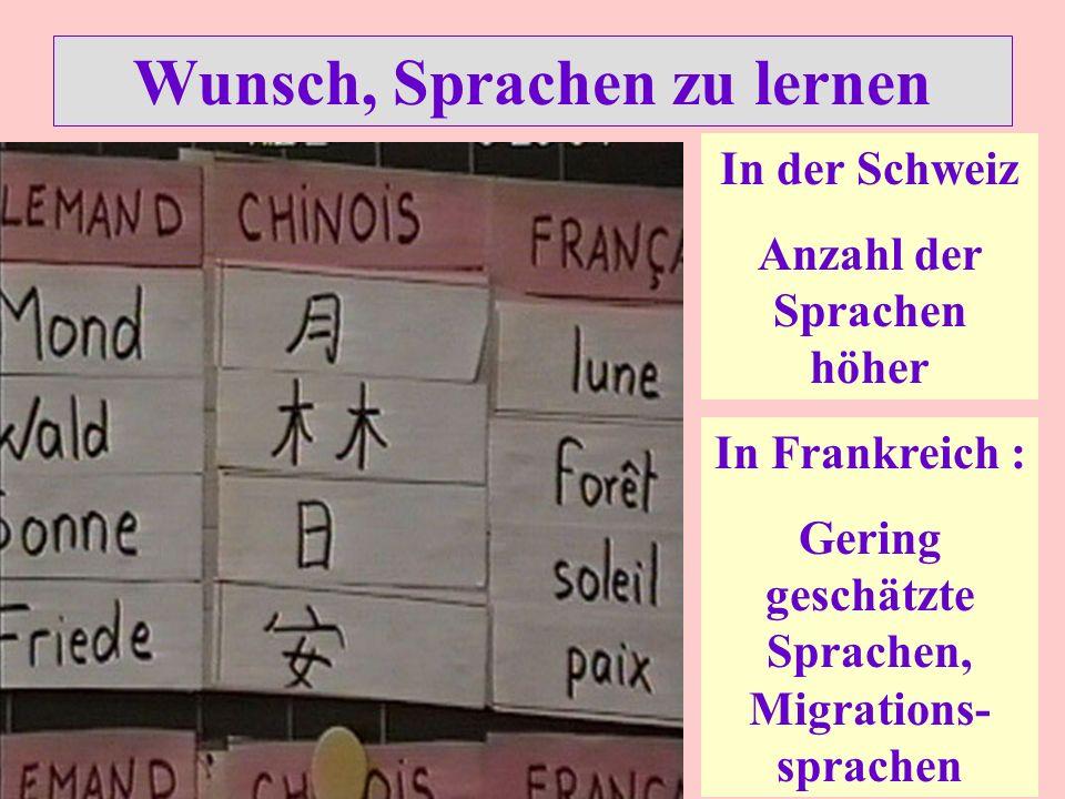 Wunsch, Sprachen zu lernen In der Schweiz Anzahl der Sprachen höher In Frankreich : Gering geschätzte Sprachen, Migrations- sprachen