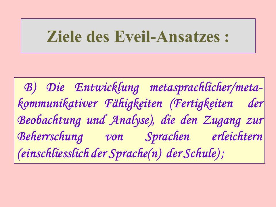 Ziele des Eveil-Ansatzes : B) Die Entwicklung metasprachlicher/meta- kommunikativer Fähigkeiten (Fertigkeiten der Beobachtung und Analyse), die den Zugang zur Beherrschung von Sprachen erleichtern (einschliesslich der Sprache(n) der Schule) ;