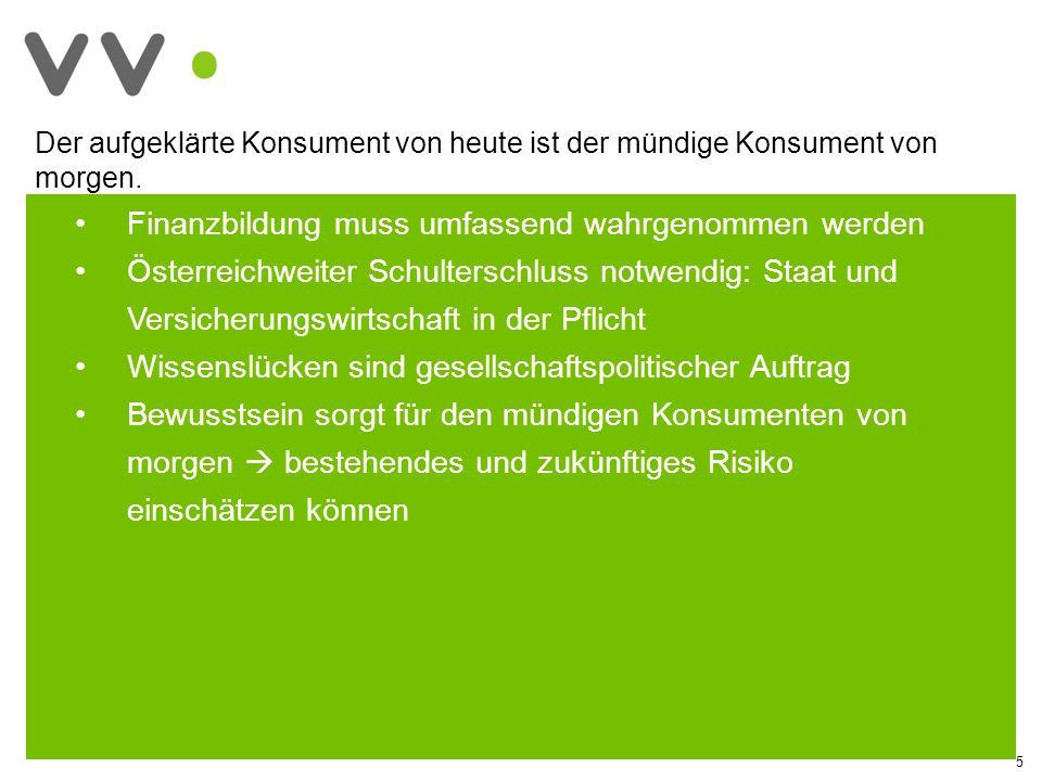 5 Finanzbildung muss umfassend wahrgenommen werden Österreichweiter Schulterschluss notwendig: Staat und Versicherungswirtschaft in der Pflicht Wissenslücken sind gesellschaftspolitischer Auftrag Bewusstsein sorgt für den mündigen Konsumenten von morgen bestehendes und zukünftiges Risiko einschätzen können Der aufgeklärte Konsument von heute ist der mündige Konsument von morgen.
