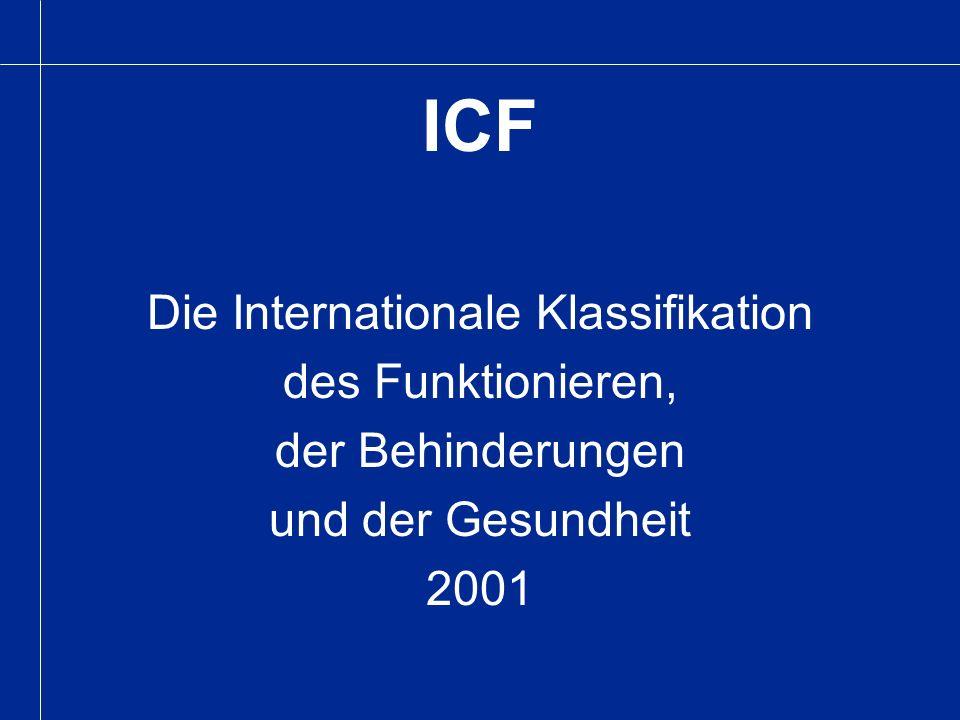 ICF Die Internationale Klassifikation des Funktionieren, der Behinderungen und der Gesundheit 2001