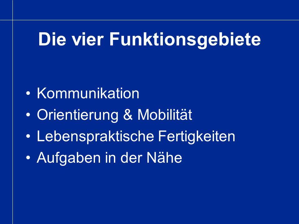 Die vier Funktionsgebiete Kommunikation Orientierung & Mobilität Lebenspraktische Fertigkeiten Aufgaben in der Nähe