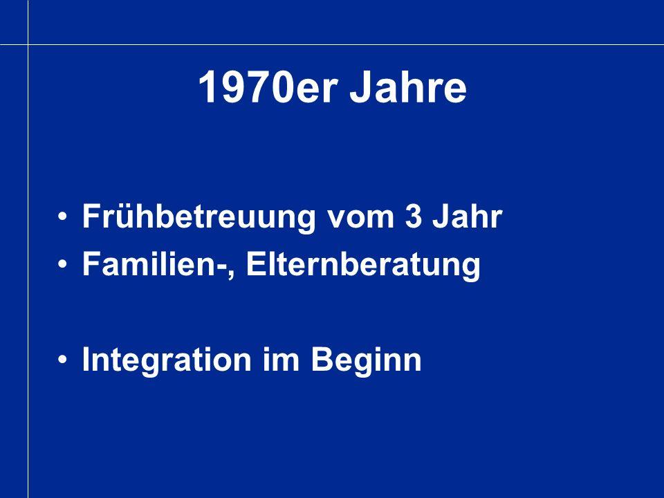 Frühbetreuung vom 3 Jahr Familien-, Elternberatung Integration im Beginn 1970er Jahre
