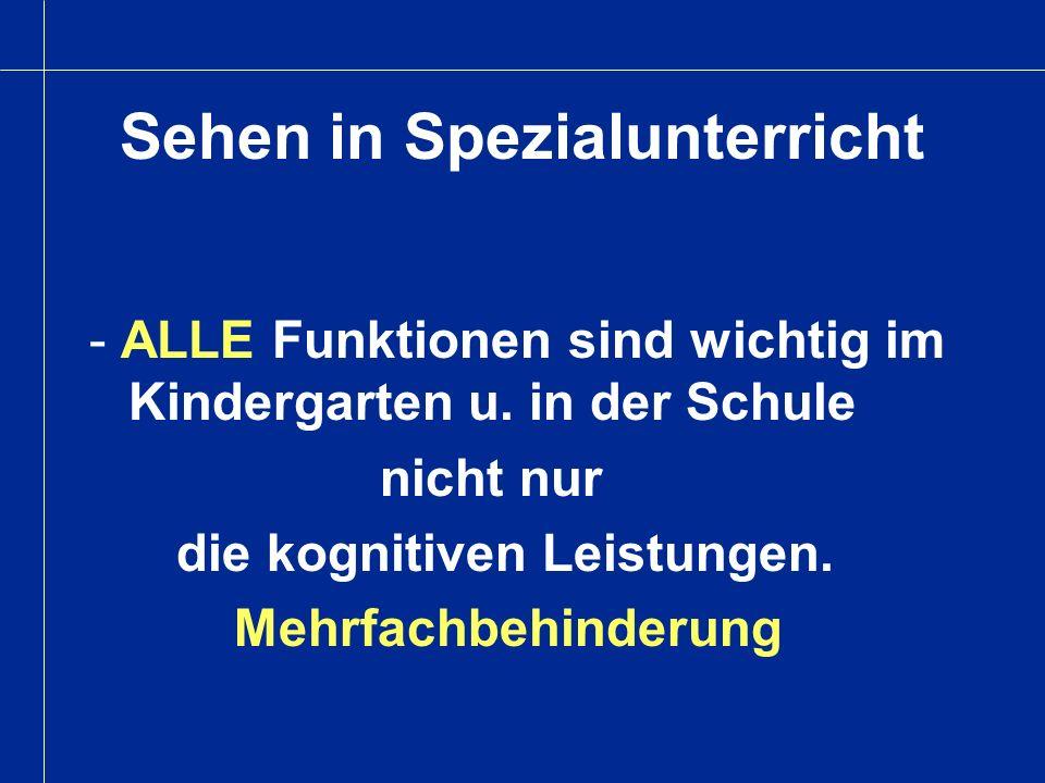 Sehen in Spezialunterricht - ALLE Funktionen sind wichtig im Kindergarten u. in der Schule nicht nur die kognitiven Leistungen. Mehrfachbehinderung