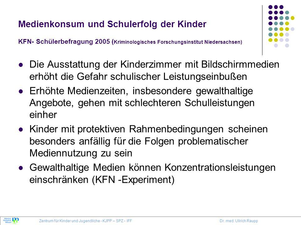 Medienkonsum und Schulerfolg der Kinder KFN- Schülerbefragung 2005 ( Kriminologisches Forschungsinstitut Niedersachsen) Die Ausstattung der Kinderzimm