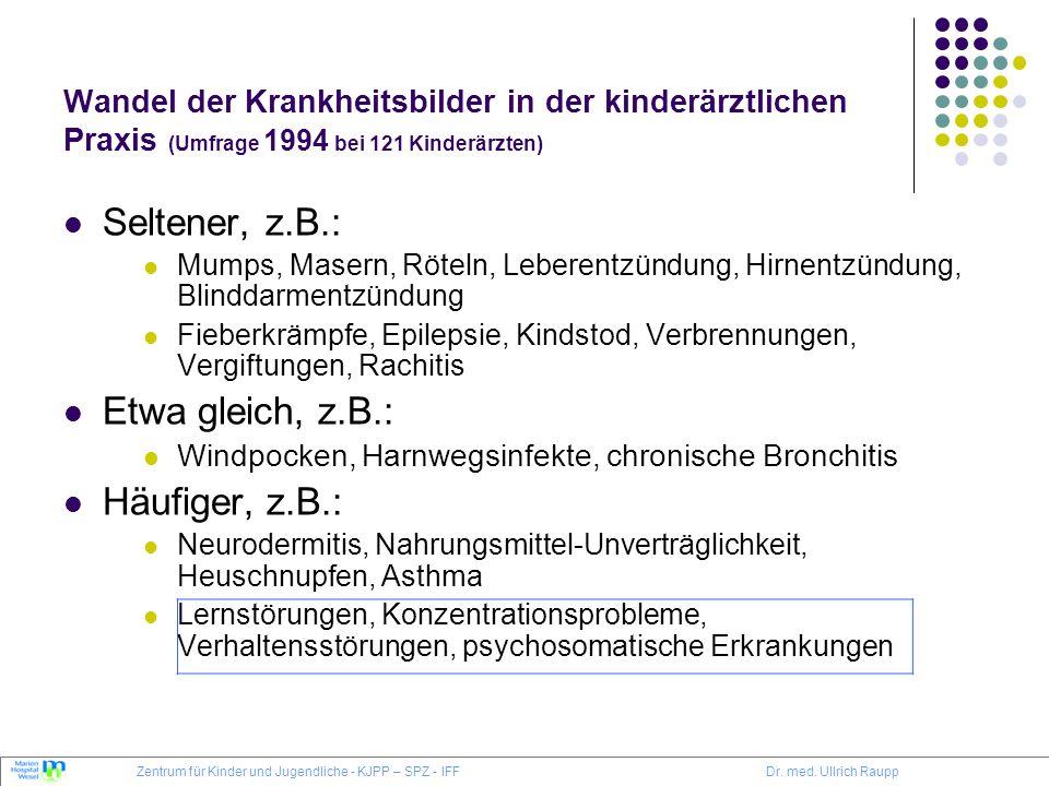 Wandel der Krankheitsbilder in der kinderärztlichen Praxis (Umfrage 1994 bei 121 Kinderärzten) Seltener, z.B.: Mumps, Masern, Röteln, Leberentzündung,