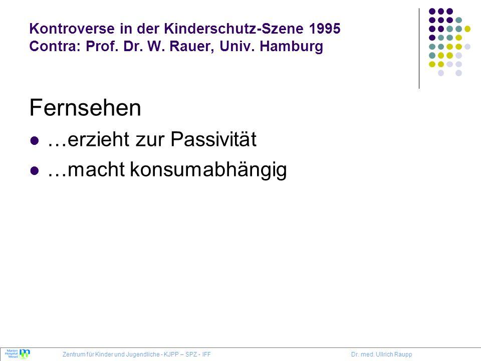 Kontroverse in der Kinderschutz-Szene 1995 Contra: Prof. Dr. W. Rauer, Univ. Hamburg Fernsehen …erzieht zur Passivität …macht konsumabhängig Zentrum f
