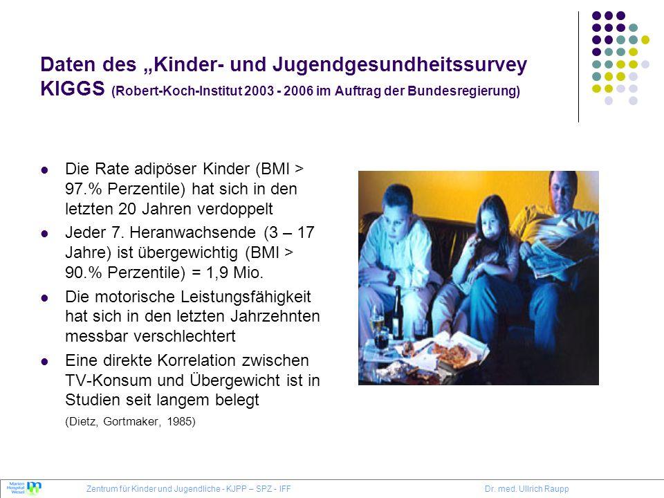 Daten des Kinder- und Jugendgesundheitssurvey KIGGS (Robert-Koch-Institut 2003 - 2006 im Auftrag der Bundesregierung) Die Rate adipöser Kinder (BMI >